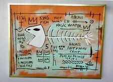 CONTEMPORARY ART IN THE MANNER OF JEAN MICHEL BASQUIAT ACRYLIC ON BOARD FRAMED