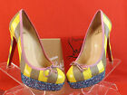 NEW LOUBOUTIN FORAINE 140 GLITTER PATENT LEATHER STRIPED PLATFORM PUMPS 36 5.5