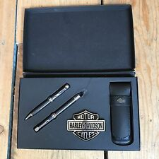 Rare: '90's Boxed Harley Davidson Fountain Pen, Biro, Emblem & Leather Case.