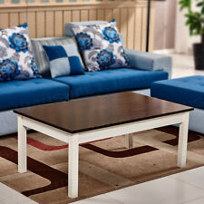 Brown Wood Coffee Table White Legs Rectangle Living Room SideTable Furniture