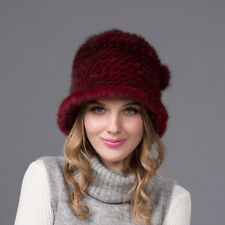100% Real Winter Women Burgundy Knit Mink Fur Hat Cap Headgear Tuque Beanie Hats