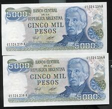 ARGENTINA - TWO BEAUTIFUL UNC CONSECUTIVE 5000 PESOS, (1977-83), ARMS WATERMARK