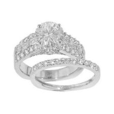 2.60 Ct. TW Round Diamond Engagement Ring with Wedding Band In 18 Kt White Gold