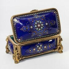 Antique French Kiln-fired Enamel Casket, Cobalt Blue & Jewel Dots, Sevres, Tahan