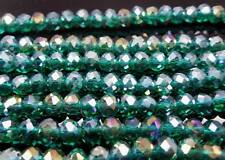 300PC Malachite green Facet+AB Swarovski Crystal Loose Beads 6X4mm