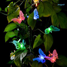 12 Led Fiber Optic Butterfly Solar String Light Colorful Decorative Party Lights
