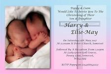50 Personalised Twins Christening Day ~Naming Day~Baptism Day Invitations N