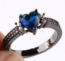 NEW Size7 love sapphire CZ Fashion Black 18K Gold Filled Rings 2.10ct BB07