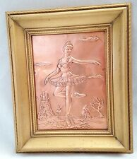 """Etched Engraved Hammered Tooled Copper 9.5X11.5"""" Ballerina Girl Art Picture"""