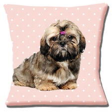 "CUTE SHIH TZU BROWN ON PALE PINK WITH WHITE POLKA DOT 16"" Pillow Cushion Cover"