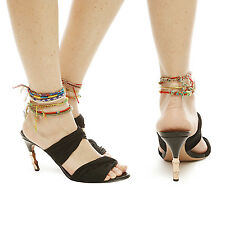 vintage GUCCI black fabric wrap gold bamboo heels sandals mules EU36.5C