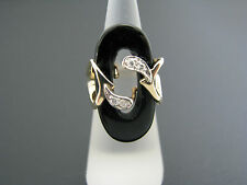 Beautiful Vintage Oval Open Black Onyx and Diamond Ring in 14k Yellow Gold