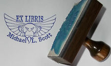 Custom Winged Monkey Ex Libris Bookplate rubber stamp by Amazing Arts