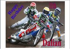 """Speedway Bikes Personalised A4 Icing Sheet 10""""x8"""" Cake Topper"""