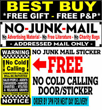 No Junk Mail Sticker, Free No Cold Calling Sign,   Decal ID : (LYC)™ FREE P&P