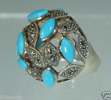 SILVER,MARCASITE,FAUX TURQUOISE DOME WOMEN'S RING SIZE 8,5 STATEMENT COCKTAIL