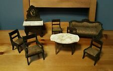 Antique Waltershausen Biedermeier German Boule Dollhouse Furniture - Full Set!