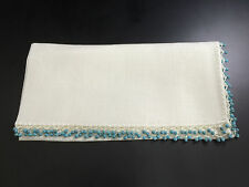 """NUKO CREATIONS Gem Napkins White Linen With Turquoise Beads, 22""""x22"""", Set of 6"""