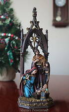 "Exquisite! 12"" HOLY FAMILY NATIVITY SCENE Ornate Cathedral Arch Window NEW!"