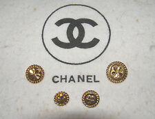 """CHANEL VINTAGE SET OF 4 - """"FOUR-LEAF CLOVER"""" GOLD-TONE BUTTONS= LARGE,SMALL,TINY"""