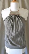 Kaufmanfranco Olive Green Knit Top w/Leather Straps & Metal Front L