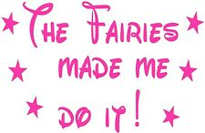 tinkerbell fairies made me do it girls vinyl car sticker powered by fairy dust