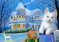 White kitten cat mouse Christmas present house lights snow OE aceo print art