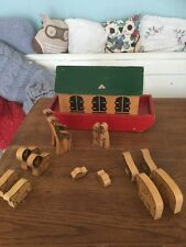 Vintage Antique 1960s Noahs Wooden Ark With Animals Good wood Trade Marked