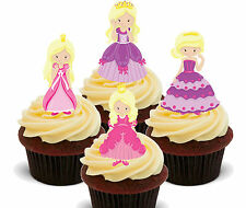 Pretty Princess Edible Cupcake Toppers, Standup Fairy Cake Bun Decorations Girl