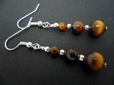 A PAIR OF  TIGERS EYE  SILVER PLATED EARRINGS. NEW.