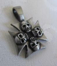NEW Pewter Iron Cross with 4 Skulls Pendant  FREE SHIPPING