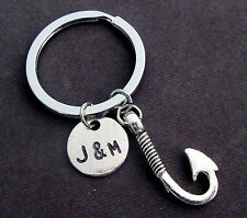 Fish Hook Keychain,Couples Initials Key Chain,Couples Key Ring,Boyfriend Keyring