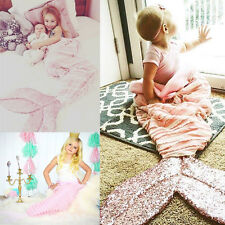 Baby Kids Mermaid Tail Blanket Sleeping Bag Bed Sofa Outfits Costume 95cm*38cm