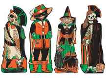"4 BEISTLE HALLOWEEN FANCI-DRESS CUT-OUT 17"" DECORATION WITCH SKELETON OWL CAT"