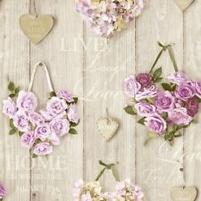New Grandeco - Vintage Hearts - Wood & Floral - Lilac - Luxury Wallpaper A14502