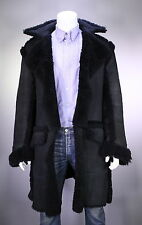 * GUCCI * Tom Ford Era Black Leather Shearling Runway Overcoat Eu 48 - US 38