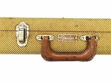 """Vintage Tweed """"Fender"""" Logo Guitar Case w/Leather Ends, """"Cheney England"""" Latches"""