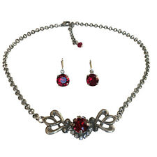 Ruby Red w/Swarovski Crystal Rhinestone Boho Vintage Choker Necklace Earring Set