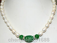Genuine 8-9 mm freshwater Cultured pearl and green jade necklace