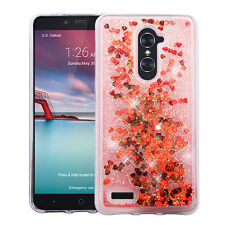 FOR ZTE Zmax Pro Z981 Hearts red Quicksand Glitter Hybrid Cover Case +CLEAR FILM