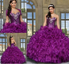 Beautiful Purple Sweet 15 Wedding Prom Formal Ball Gown Quinceanera Dresses 2016