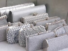 Wedding Prom Party Gift Silver Diamante Crystal Satin Purse Clutch Handbag Bag