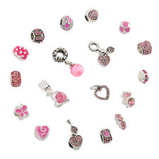 20 Pcs Silver PINK Crystal CHARMS for BRACELETS Necklaces Jewellery Making BEADS