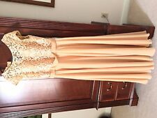 Size 16W MACloth Women Cap Sleeve Dress Lace Long Evening Formal Gown