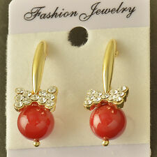 Lovely Yellow Solid Gold Filled Red Pearl Crystal Bow-Knot Womens Stud Earrings