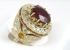 Huge Wide Ruby Ring w/Diamond & Citrine Dragonfly Accents 14k YG 13.08Ct