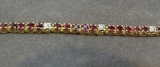 14 Karat Yellow Gold Ladies Ruby and Diamond Bracelet