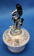 vintage IRiCE mini PERFUME BOTTLE white porcelain w/gold leaves Metal POODLE Top