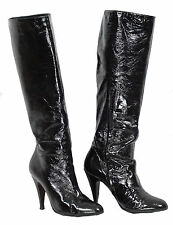 Brian Atwood Boots 37.5 Black Patent Leather Tall Stiletto