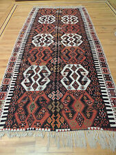 Turkish Kilim Reversible Wide Wool Area  Runner Rug  6x12 Geometric design